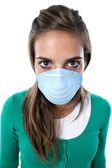 Distorted girl infected with influenza A — Stock Photo