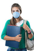 Student girl infected with influenza A — Stock Photo