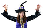 Beautiful girl dressed in evil witch — Stock Photo