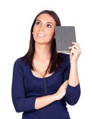 Bella ragazza pensando con un libro — Foto Stock