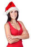 Beautiful girl with Christmas hat — Stock Photo