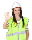 Attractive worker with reflector vest saying Stop — Stock Photo