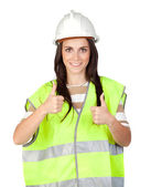 Attractive worker with reflector vest — Foto Stock