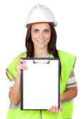 Attractive worker with reflector vest — Stock Photo