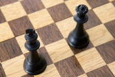 Photo view from above of chess pieces on the board — Foto de Stock