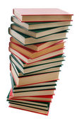 Tower of books on a white background — Stock Photo