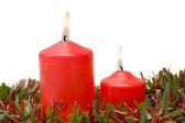 Red candles of Christmas lit — Stock Photo
