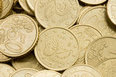 Macro of many coins cents Euro — Stock Photo