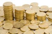 Macro of many coins cents Euro — Stock Photo
