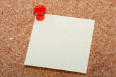 Red pin with note — Stock Photo