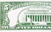 Part of a five dollar bill — Stock Photo