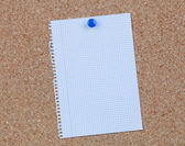 Cork bulletin board with blank paper — Stock Photo