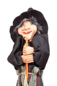 Old Halloween witch with broomstick and hat — Stock Photo