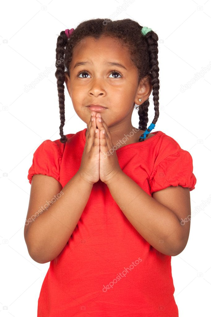 Sad little girl praying for something isolated on a over white — Stock Photo #9430677