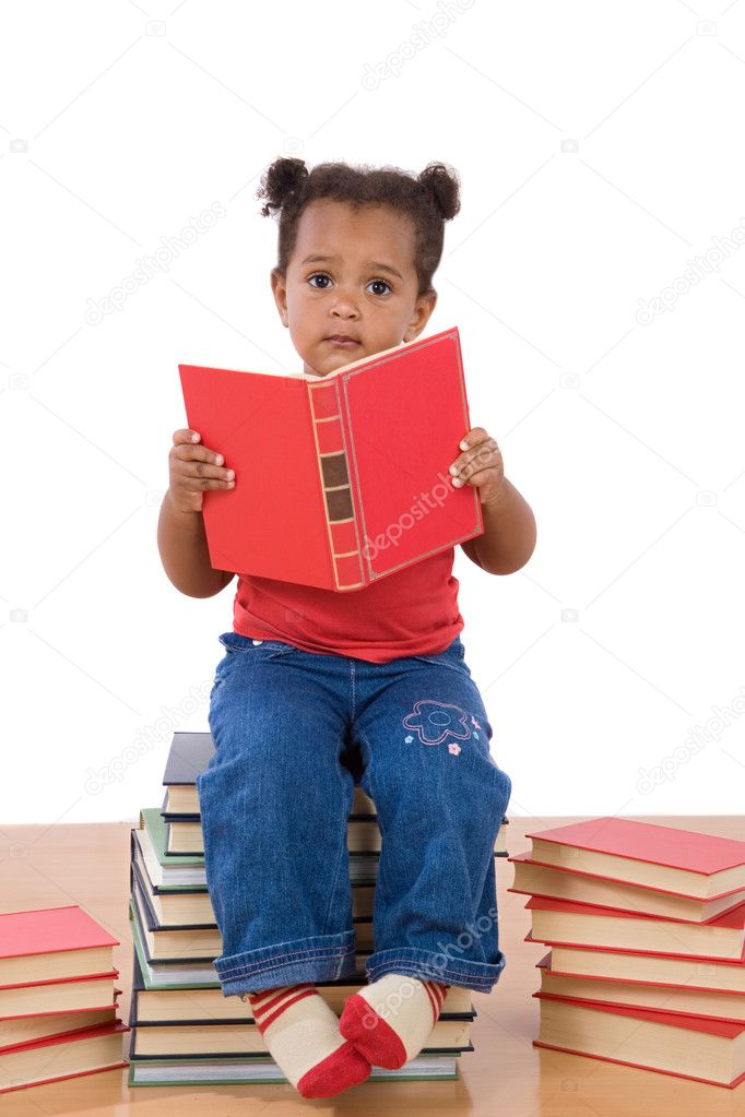 Adorable african baby reading sitting on a pile of books on a over white background — Stock Photo #9430788