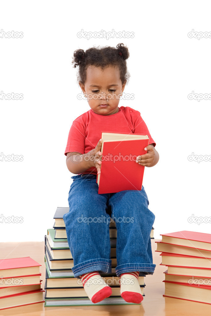 Adorable african baby reading sitting on a pile of books on a over white background — Stock Photo #9430790