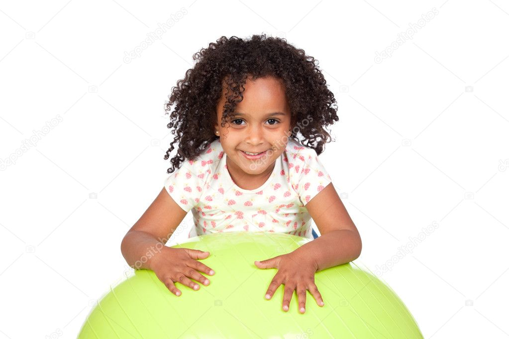 Adorable african little girl with beautiful hairstyle isolated over white — Stock Photo #9430927