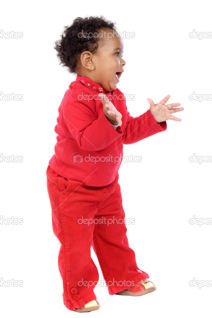Adorable happy baby a over white background  Stock Photo #9431146