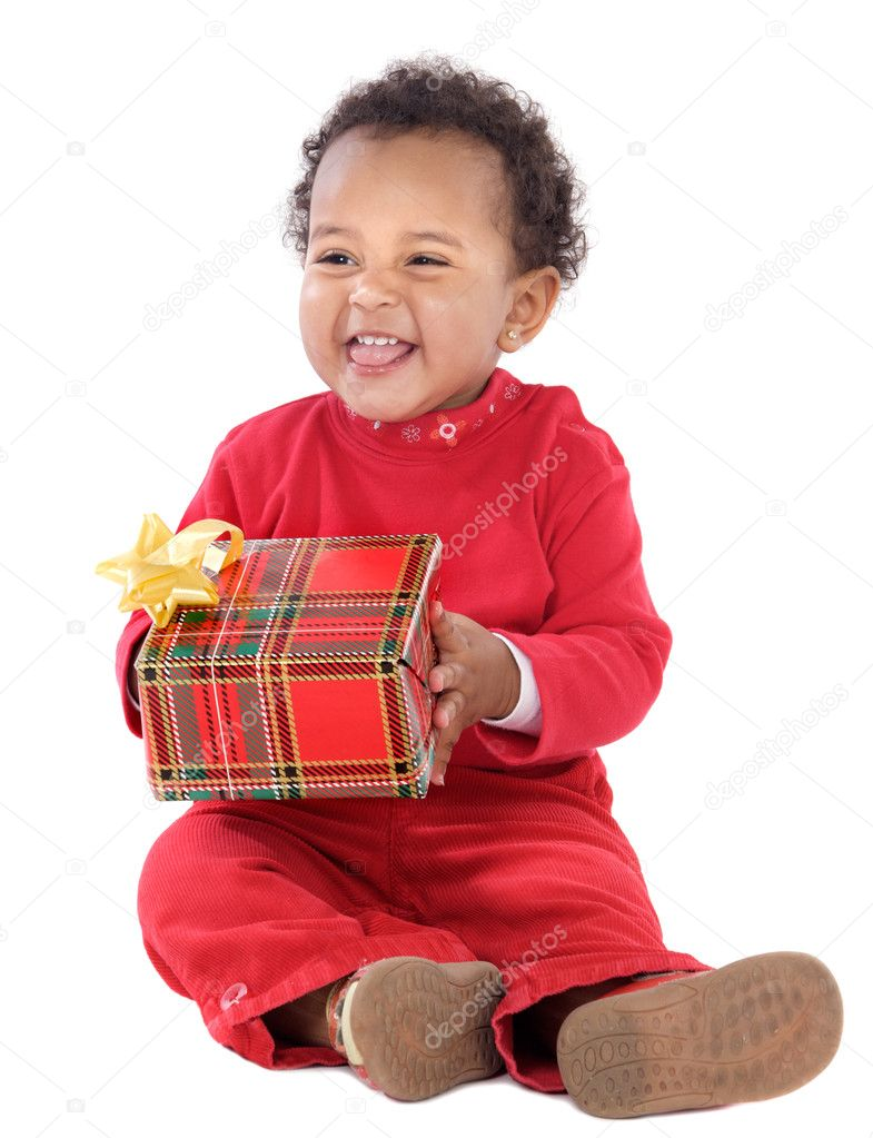 Baby with a gift box a ver white background — Stock Photo #9431156