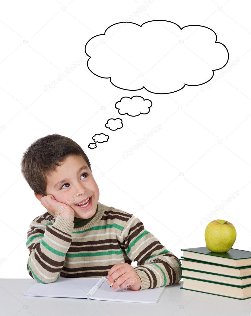 Adorable child thinking in the school on a over white background  Stock Photo #9431845