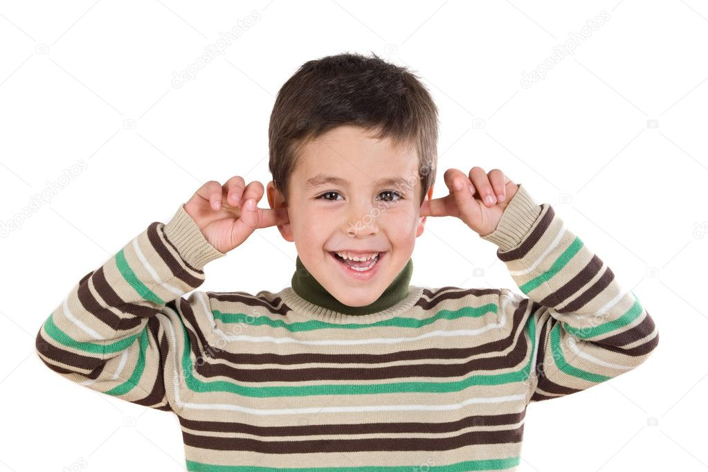 Adorable child stoppering his ears on a over white background  Stock Photo #9431865