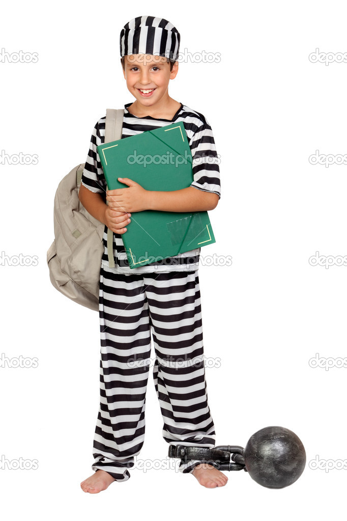 Student child with prisoner costume isolated on white background — Stock Photo #9431925