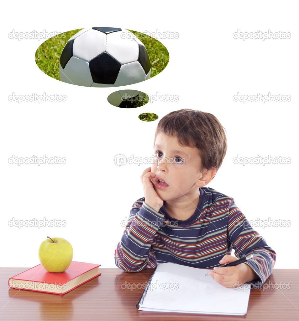 Adorable boy in class thinking about the ball a over white background — Stock Photo #9431961
