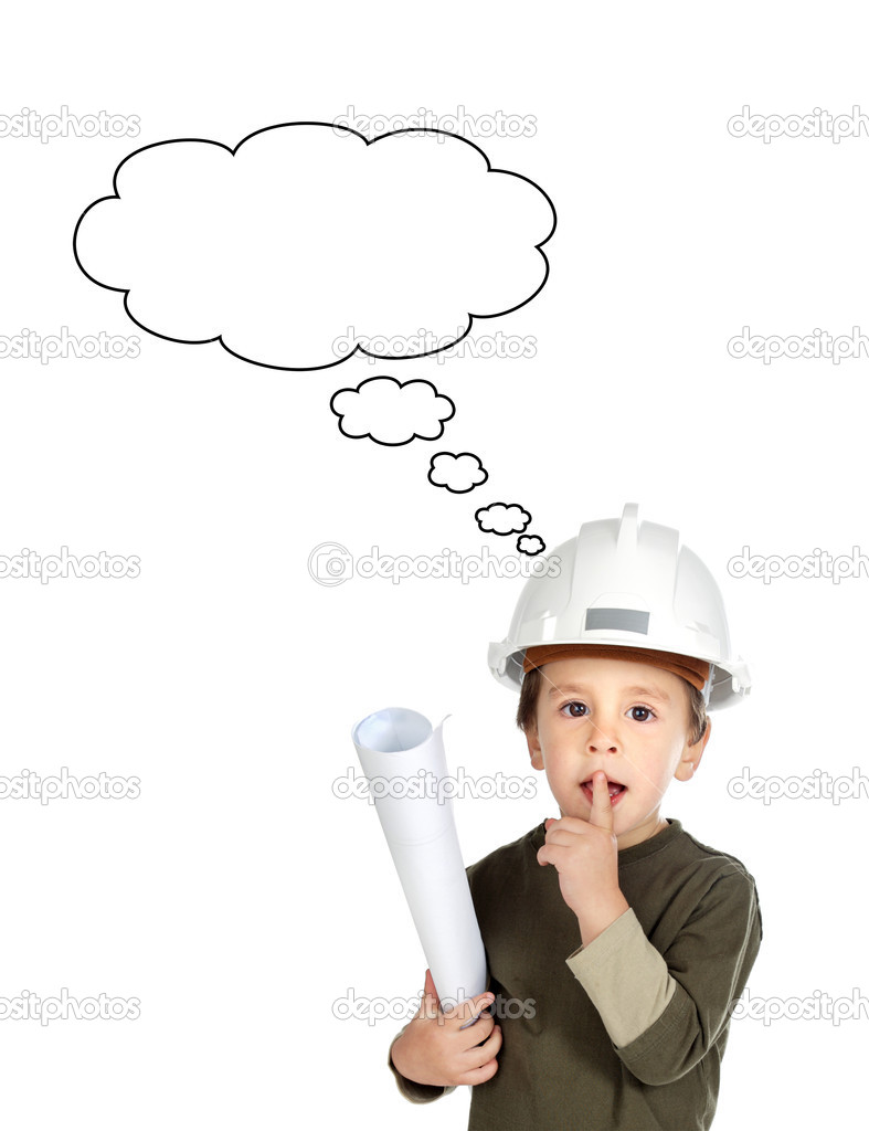 Adorable future engineer thinking isolated over white  Stock Photo #9432103