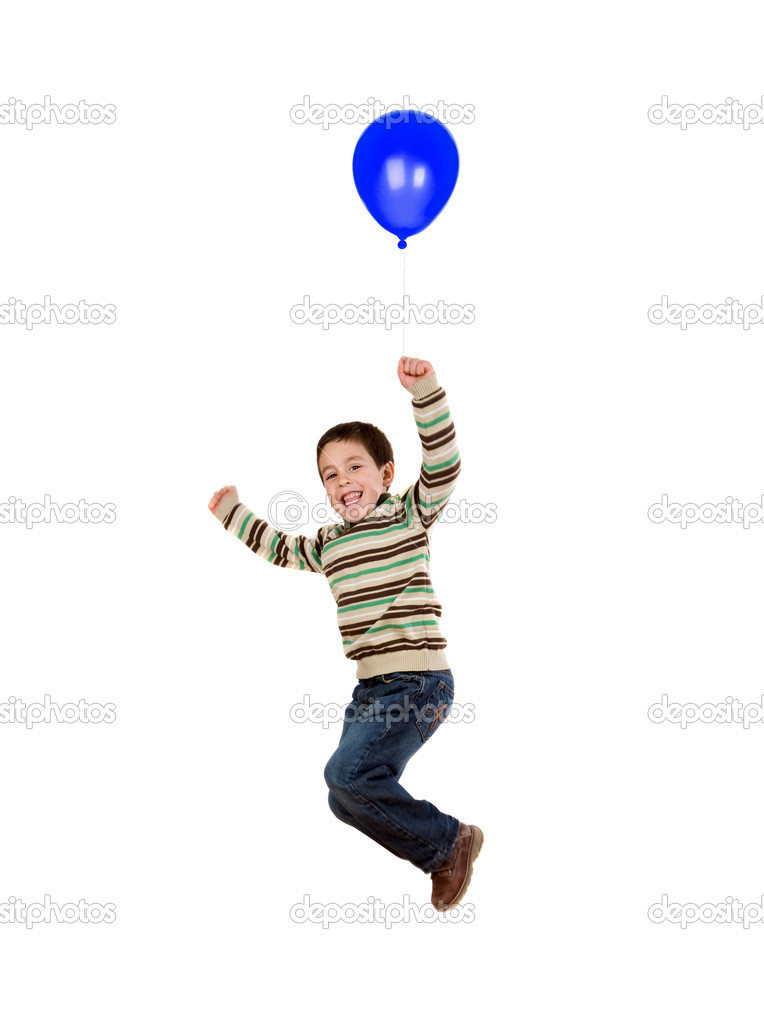 Child flying with blue balloon inflated isolated on white background — Stock Photo #9432128