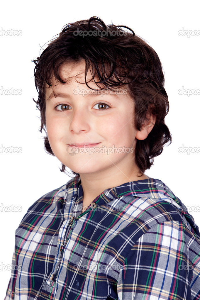 Smiling child with plaid t-shirt isolated on white background  Stock Photo #9432316