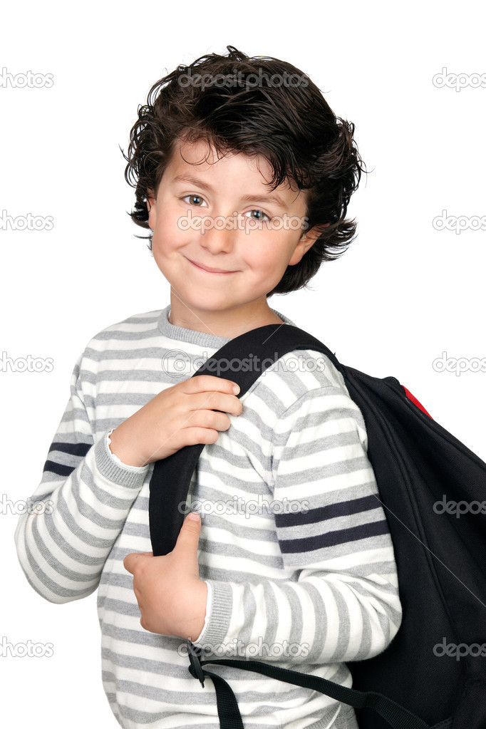 Beautiful student child with heavy backpack isolated on white background — Stock Photo #9432649