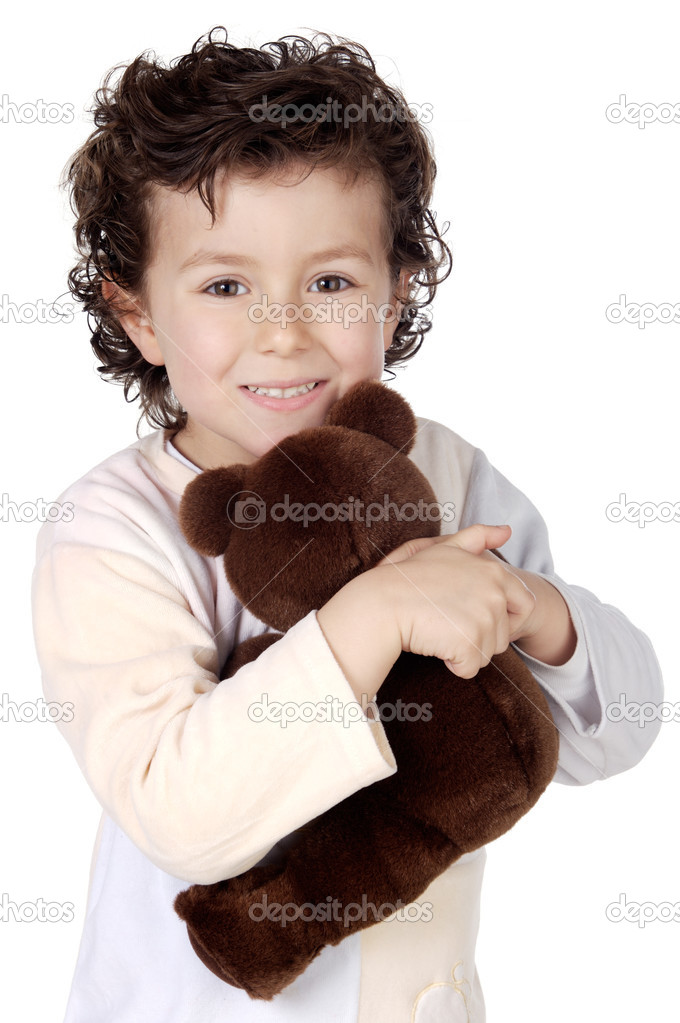 Adorable child prepared to sleep with its bear a over white background — Stock Photo #9432777