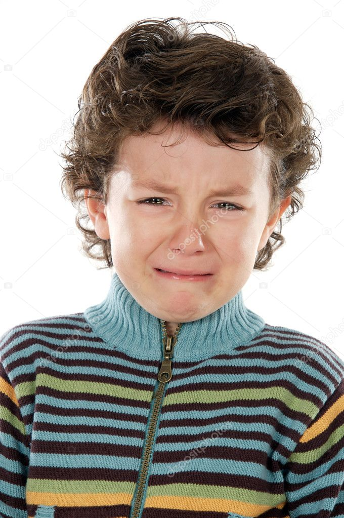 Adorable child crying a over white background — Stock Photo #9432860