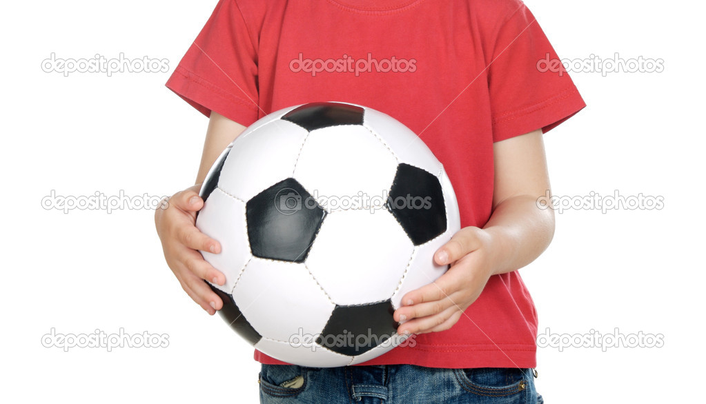 Child with soccer ball isolated over white — Stock Photo #9432977
