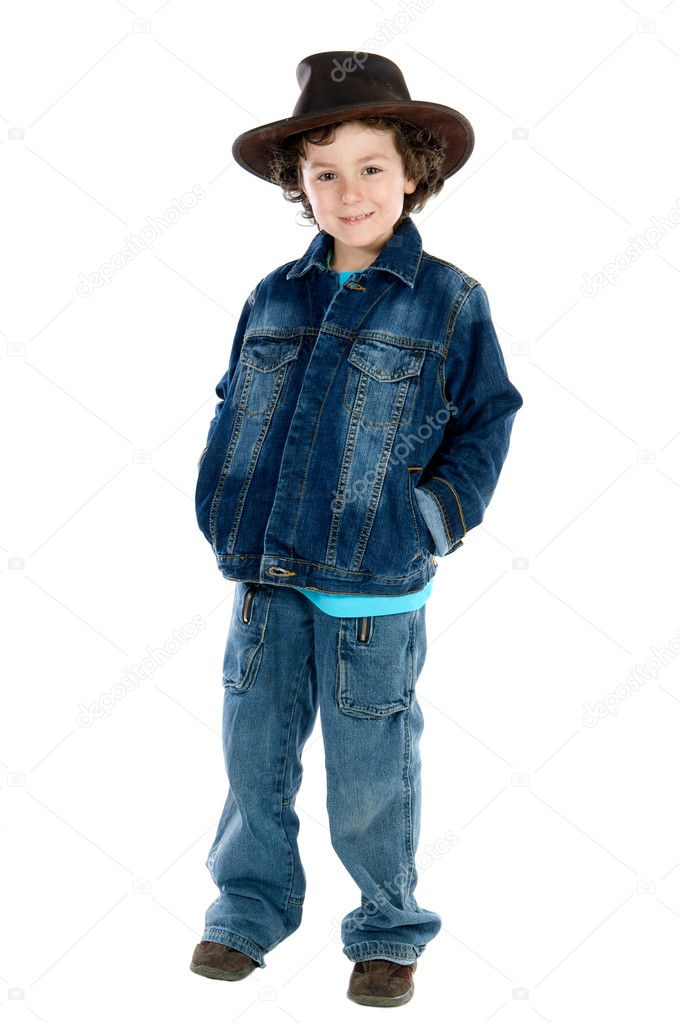 Adorable child wearing a cowboy hat a over white background  Stock Photo #9433223