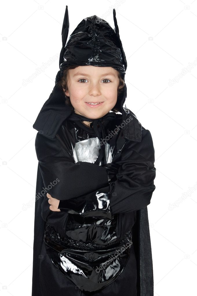 Adorable child disguised of bat a over white background — Stock Photo #9433364