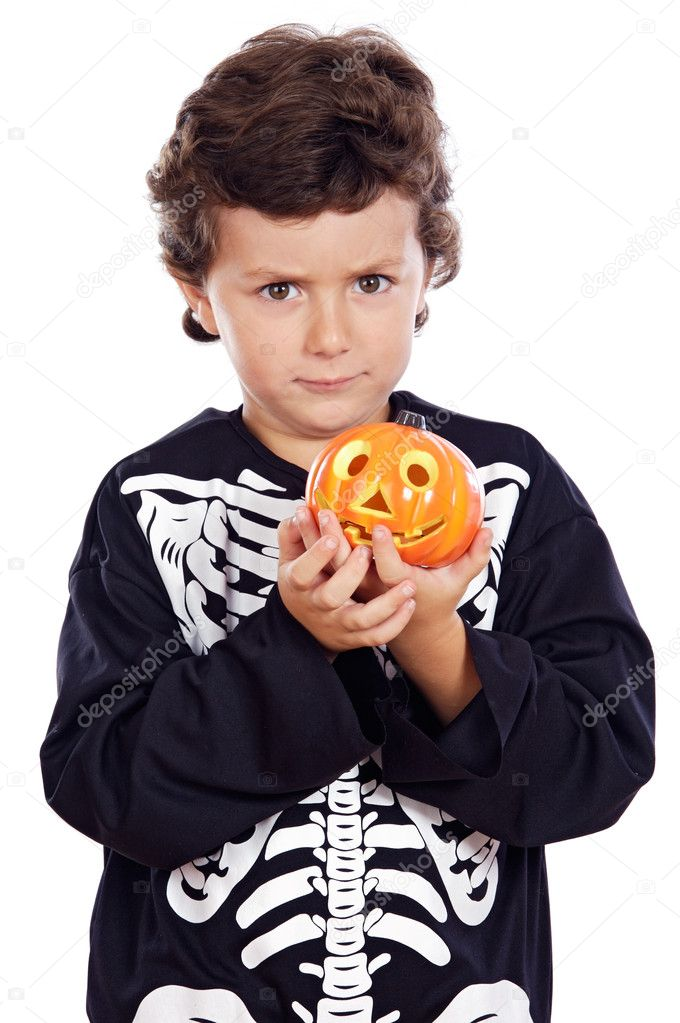 Adorable boy disuised in  halloween a over white background — Stock Photo #9433436