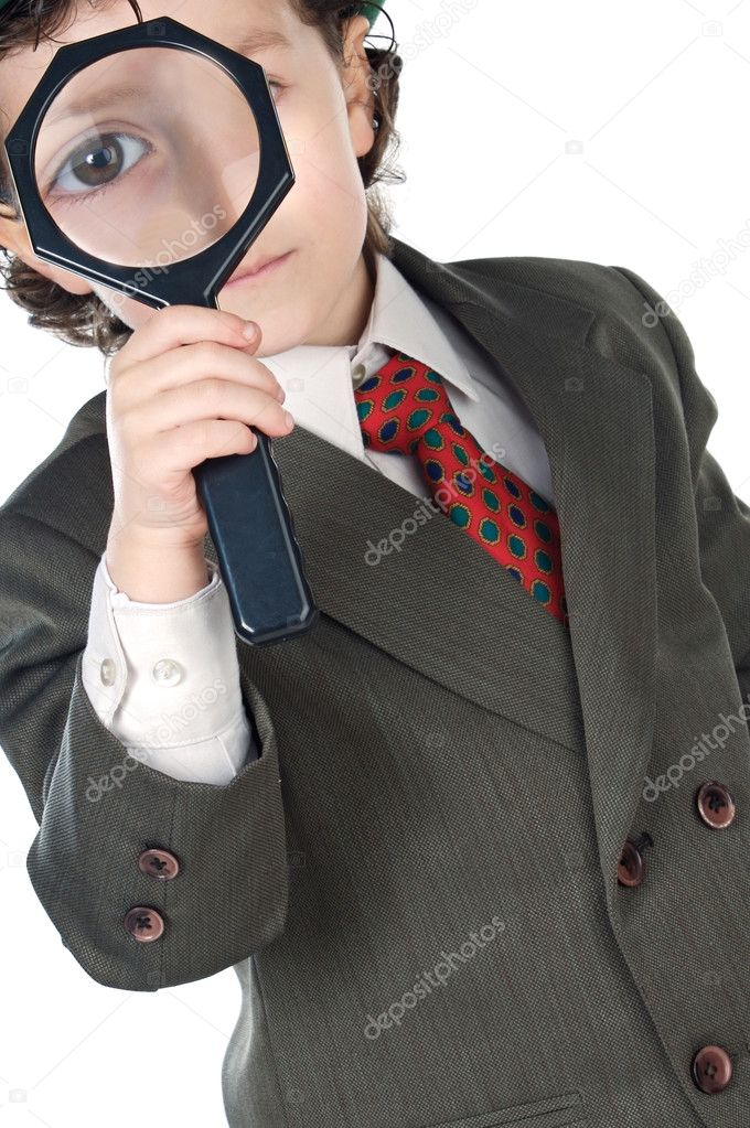 Kid with magnifying glass a over white background — Stock Photo #9433518