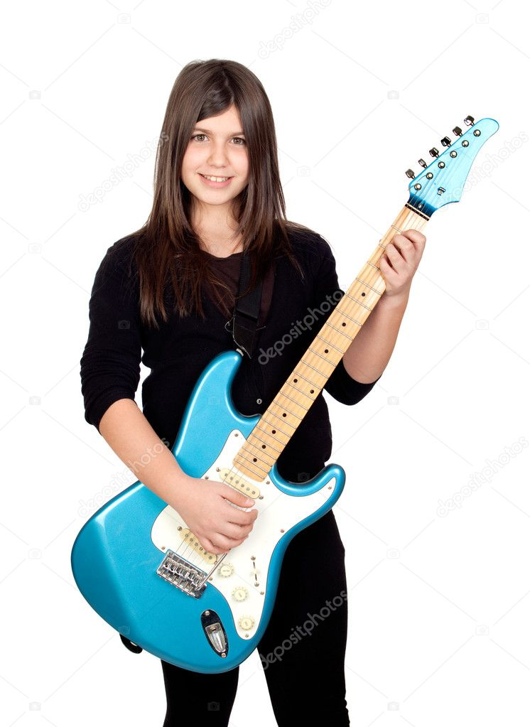 Adorable girl whit electric guitar on a over white background — Stock Photo #9435313