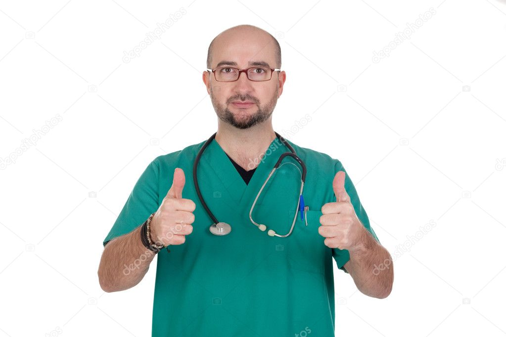 Medical with their thumbs up isolated on white background — Foto de Stock   #9435564