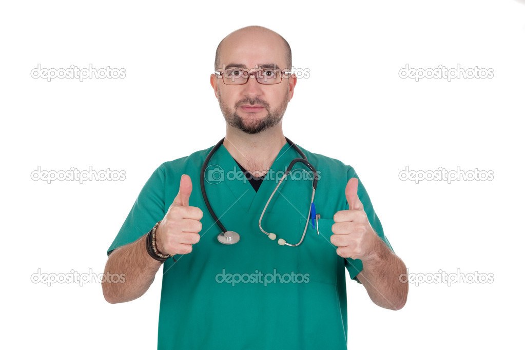 Medical with their thumbs up isolated on white background — Photo #9435564