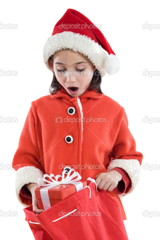 Beautiful girl with hat of christmas on a over white background — Stock Photo #9436054