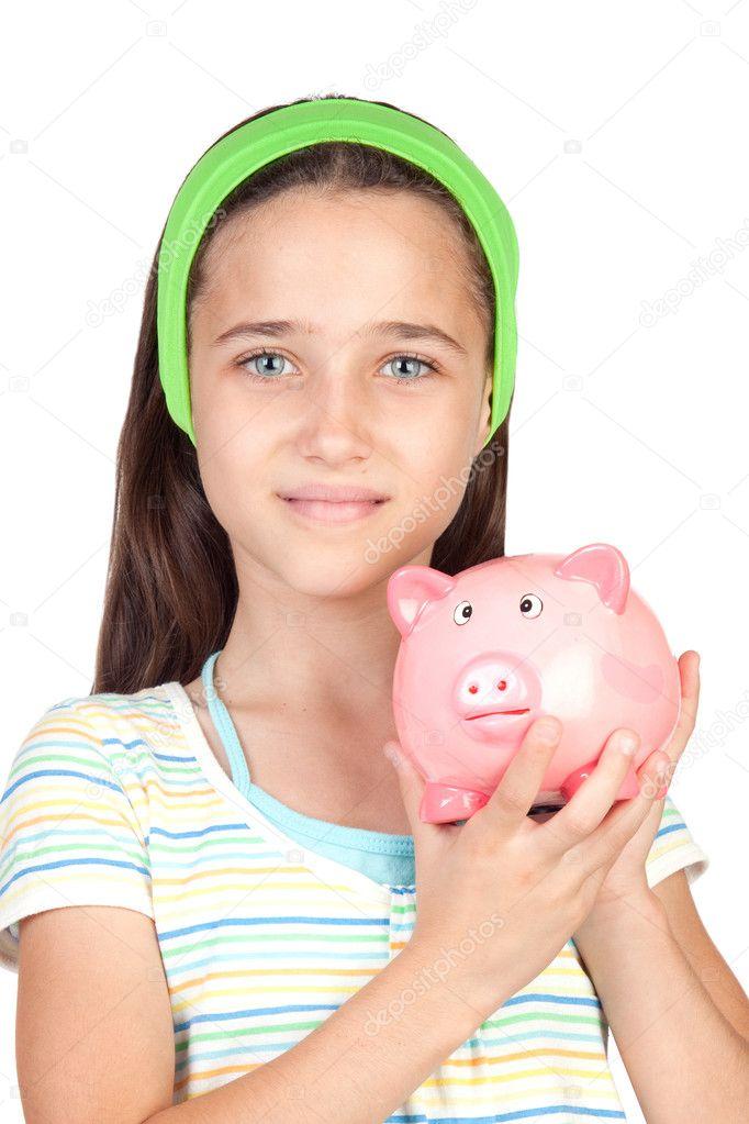 钱框的可爱小女孩