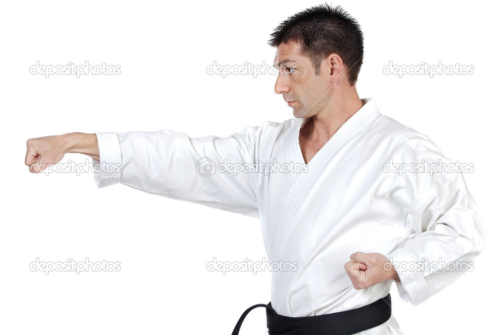 Black belt karate expert with fight stance — Stock Photo #9436730