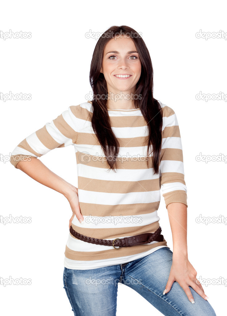 Beautiful brunette girl isolated on a over white background — Stock Photo #9437454