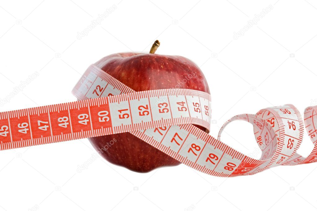 Care your figure and your health. One red apple with tape — Stock Photo #9437955