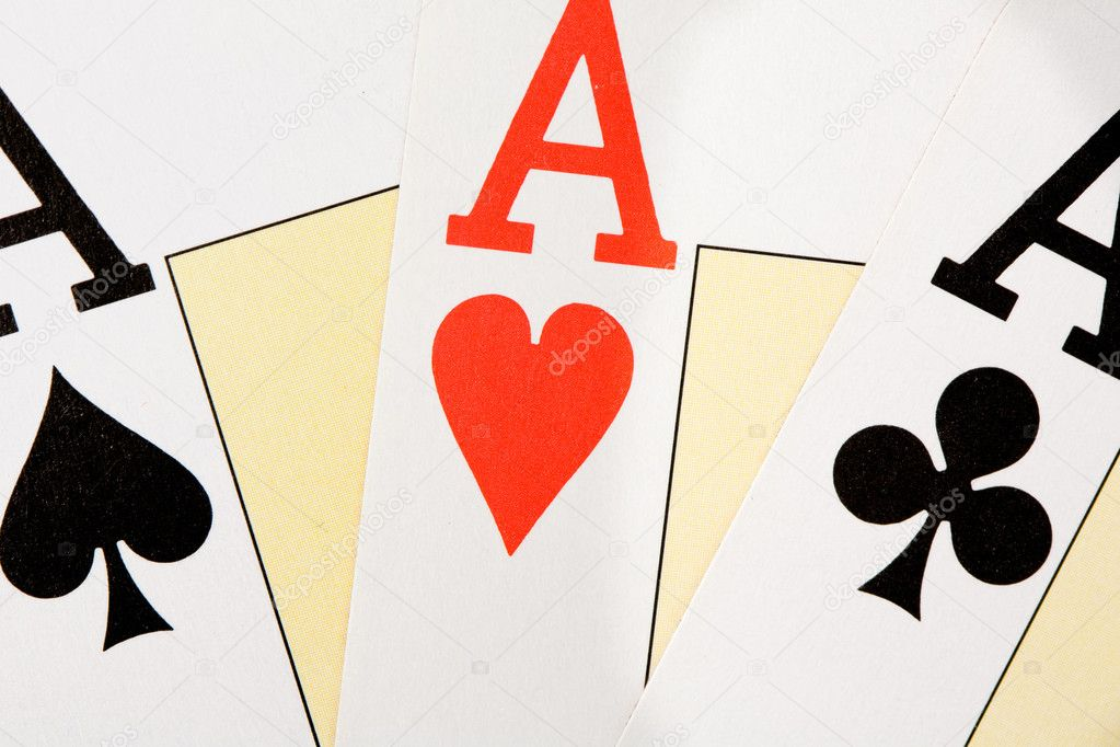 Today I have good hands. Three aces for poker — Stock Photo #9438089