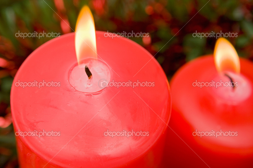 Red candles of Christmas lit -Shallow Depth of Field- — Foto de Stock   #9438162