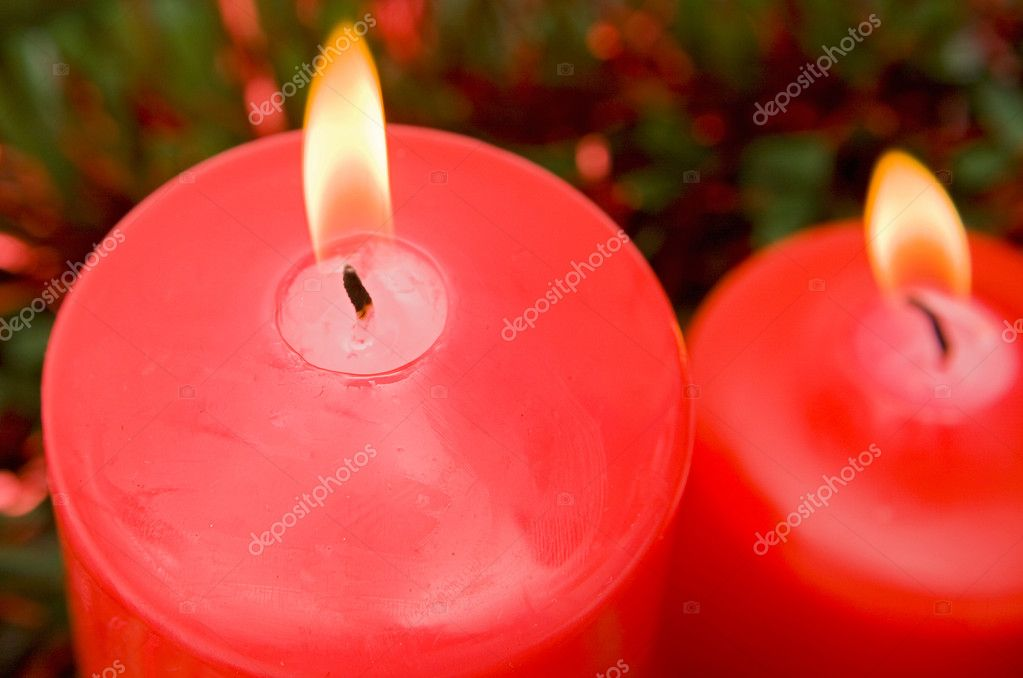 Red candles of Christmas lit -Shallow Depth of Field-  Lizenzfreies Foto #9438162