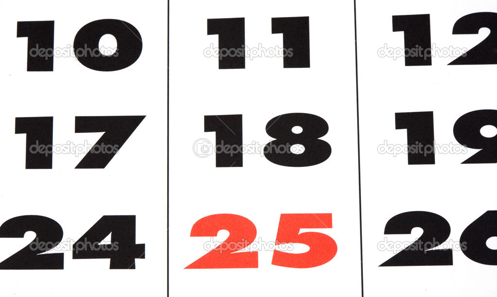 Page of the calendar with many numbers  Stock Photo #9438470